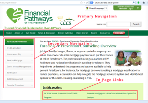Examples of primary navigation, secondary navigation and in-content links