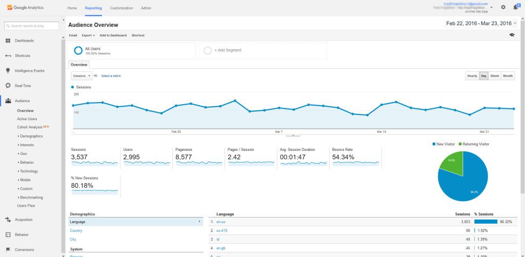 Google Analytics Dashboard - Reports
