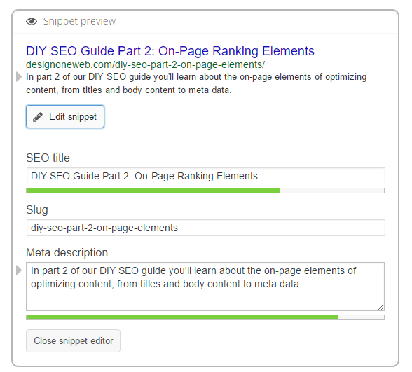 Meta Title and Meta Description Example for DIY SEO on-page ranking factors